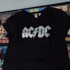 Vintage: CAMISETA AC DC TALLA L DE CHICA NEGRA, LOGO PLATEADO Y BRILLANTE. ANGUS, ROCK, HEAVY METAL, MUJER.. Lote 213867476