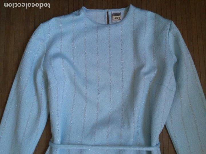 Vintage: Vestido azul celeste y plata glitter con cinturón 46 Tallas grandes Polyester Vintage - Foto 3 - 214004553
