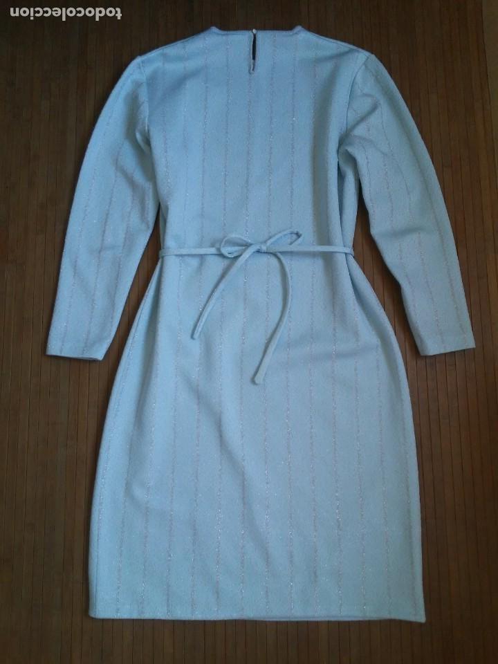 Vintage: Vestido azul celeste y plata glitter con cinturón 46 Tallas grandes Polyester Vintage - Foto 10 - 214004553