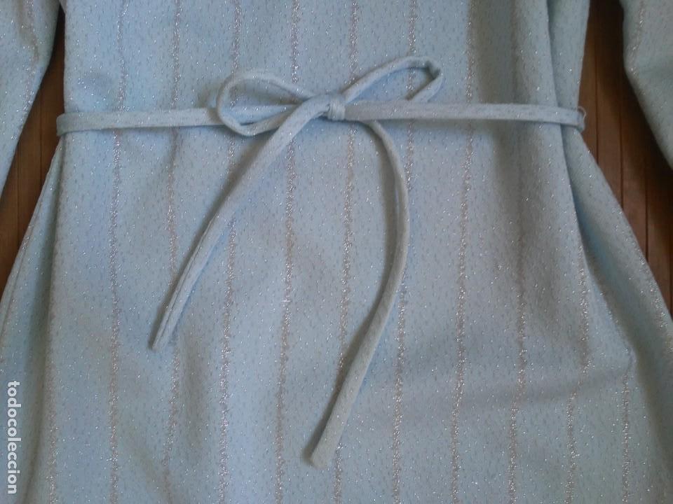 Vintage: Vestido azul celeste y plata glitter con cinturón 46 Tallas grandes Polyester Vintage - Foto 11 - 214004553