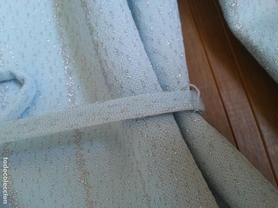 Vintage: Vestido azul celeste y plata glitter con cinturón 46 Tallas grandes Polyester Vintage - Foto 12 - 214004553