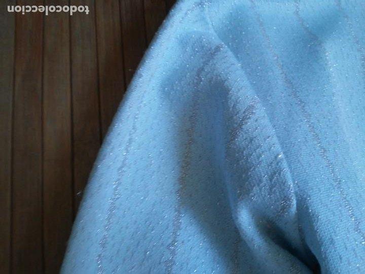 Vintage: Vestido azul celeste y plata glitter con cinturón 46 Tallas grandes Polyester Vintage - Foto 13 - 214004553