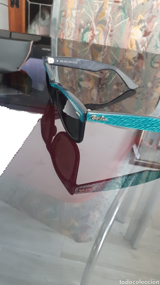 Vintage: Gafas Ray Ban WAYFARER montura concha verde made in usa - Foto 3 - 215149160