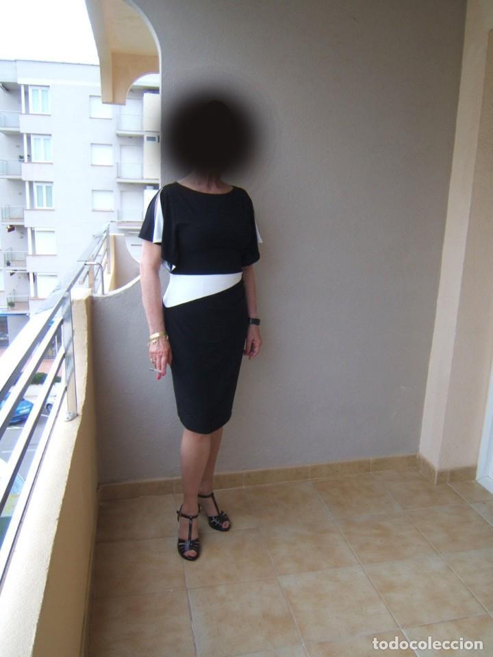 VESTIDO NEGRO Y BLANCO DE MARCA IMPORTANTE (Vintage - Moda - Mujer)