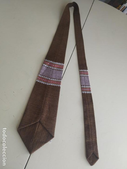 Vintage: Original corbata de llamas en tonos marrones. Ancho pala 11 cm. Nueva - Foto 3 - 216794292
