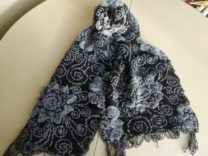 Vintage: Lote dos bufandas pañuelos. Azul y negro. Ancho 36 cm. - Foto 2 - 218338637