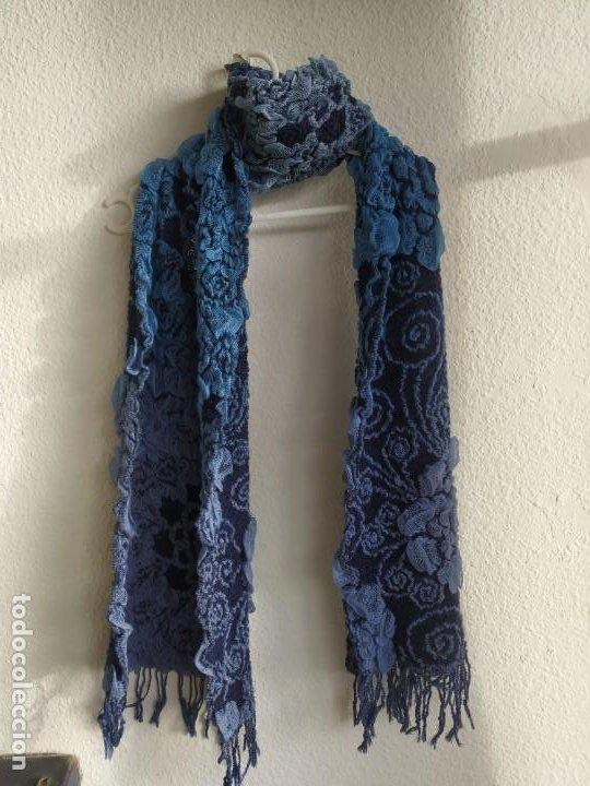 Vintage: Lote dos bufandas pañuelos. Azul y negro. Ancho 36 cm. - Foto 4 - 218338637