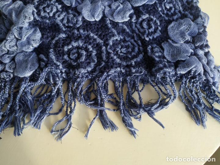 Vintage: Lote dos bufandas pañuelos. Azul y negro. Ancho 36 cm. - Foto 7 - 218338637