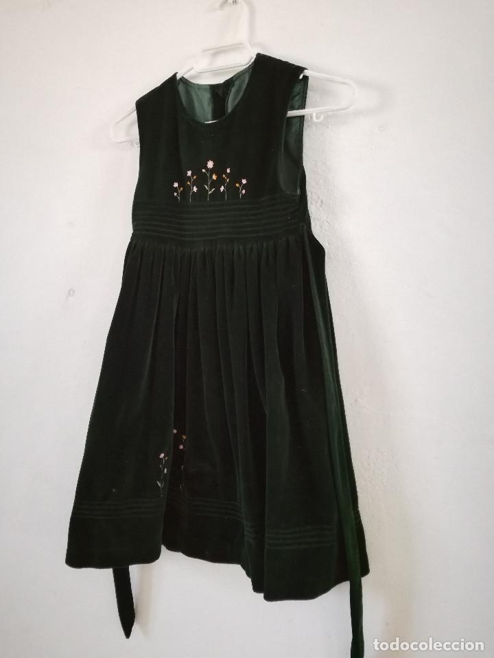 VESTIDO DE TIRANTES VINTAGE EN VERDE OSCURO, TALLA 8 (Vintage - Moda - Mujer)