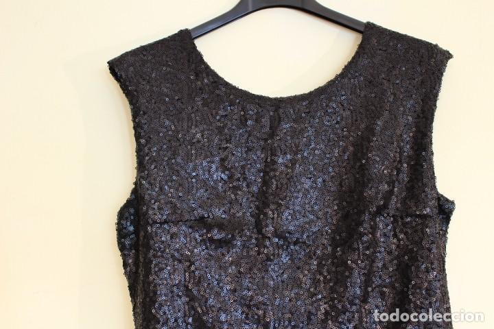 Vintage: Vintage Vestido Negro Tubo con V-Backs Sequin Brand Boyi 34/36 - Foto 2 - 221516445