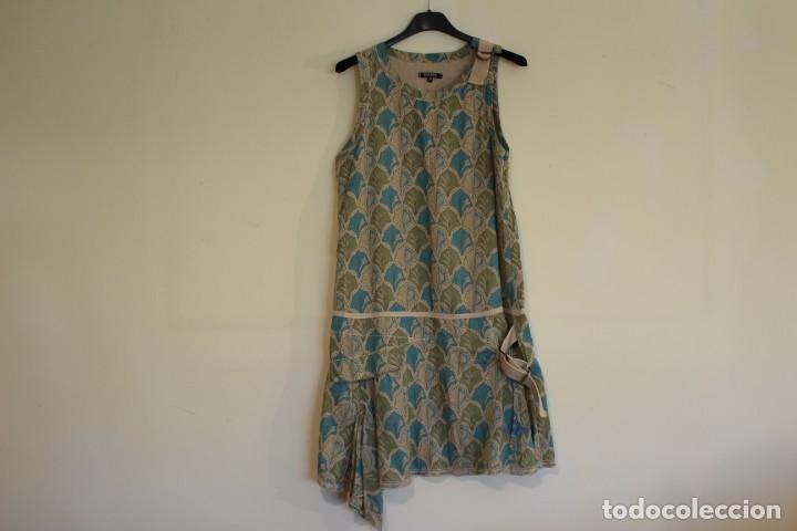 VINTAGE VESTIDO 100% ALGODÓN FLORES SECAS EN VERDE Y AZUL DKNY MARK 14 (38) (Vintage - Moda - Mujer)