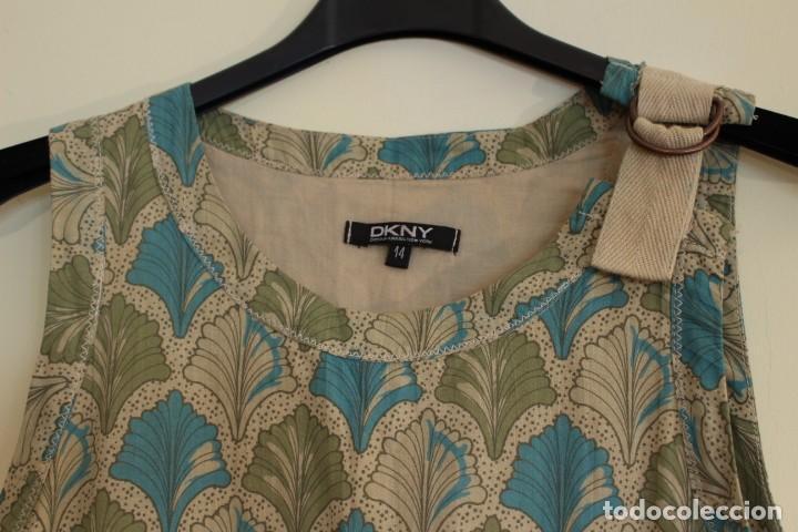 Vintage: Vintage Vestido 100% algodón flores secas en verde y azul DKNY Mark 14 (38) - Foto 2 - 221517216