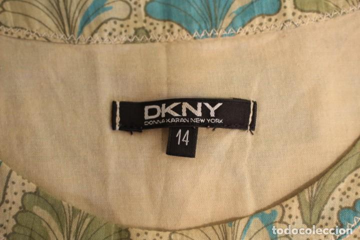 Vintage: Vintage Vestido 100% algodón flores secas en verde y azul DKNY Mark 14 (38) - Foto 10 - 221517216