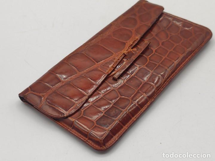 Vintage: Funda de gafas en piel de cocodrilo. - Foto 2 - 221555481