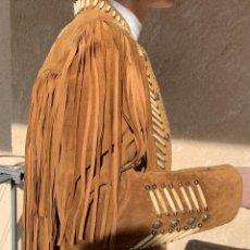 Vintage: ABRIGO-CAZADORA PIEL , FLECOS Y ABALORIOS . THE BATHER RANCH . DU CUIR . CANADA .ESTILO VINTAGE .. Lote 227724427