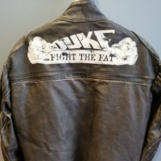 """Vintage: ORIGINAL KTM """"HARD EQUIPMENT"""" AGED LEATHER JACKET CAFE RACER STYLE MADE IN ITALY SIZE L FOR MEN. Lote 235610080"""