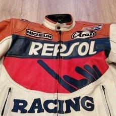 "Vintage: UNISEX LEATHER JACKET ""HONDA REPSOL"" MOTORCYCLES RACING SIZE M - REAL VINTAGE. Lote 235686405"