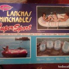 Vintage: BARCA LANCHA INCHABLE AZUL OSCURO DE 145 CMS POR 245 CMS NUEVA SIN USO. Lote 236339630