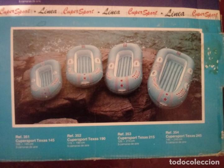 Vintage: BARCA LANCHA INCHABLE AZUL OSCURO DE 145 CMS POR 245 CMS NUEVA SIN USO - Foto 2 - 236339630