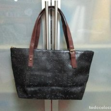 Vintage: PRECIOSO BOLSO TIPO SHOPPER COLOR NEGRO CON ASAS COLOR MARRON. Lote 237451240