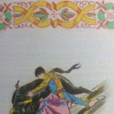 Vintage: PAÑUELO PINTADO A MANO ARTESANÍA SALAMANCA MOTIVO TOROS. Lote 263213680
