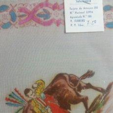 Vintage: PAÑUELO PINTADO A MANO ARTESANÍA SALAMANCA MOTIVO TOROS. Lote 263213845