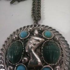 Vintage: RARO BROCHE SIERVO EGIPCIO CON TURQUESAS ANTIGUO. Lote 262237305