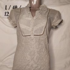 Vintage: BLUSITA LARGA DE MANGA CORTA MARRON LIGERA TALLA L. Lote 253942040