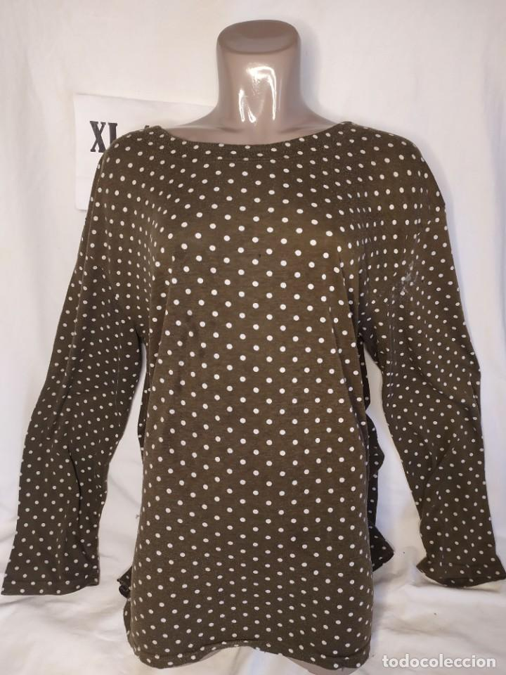 CAMISETA MANGA LARGA LUNARES MARRON FUNDAY TALLA XL-XXL (Vintage - Moda - Mujer)