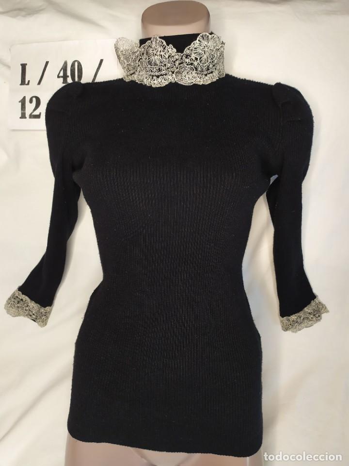 JERSEY MANGA LARGA NEGRO DETALLES ENCAJE MANGA CUELLO TALLA L (Vintage - Moda - Mujer)