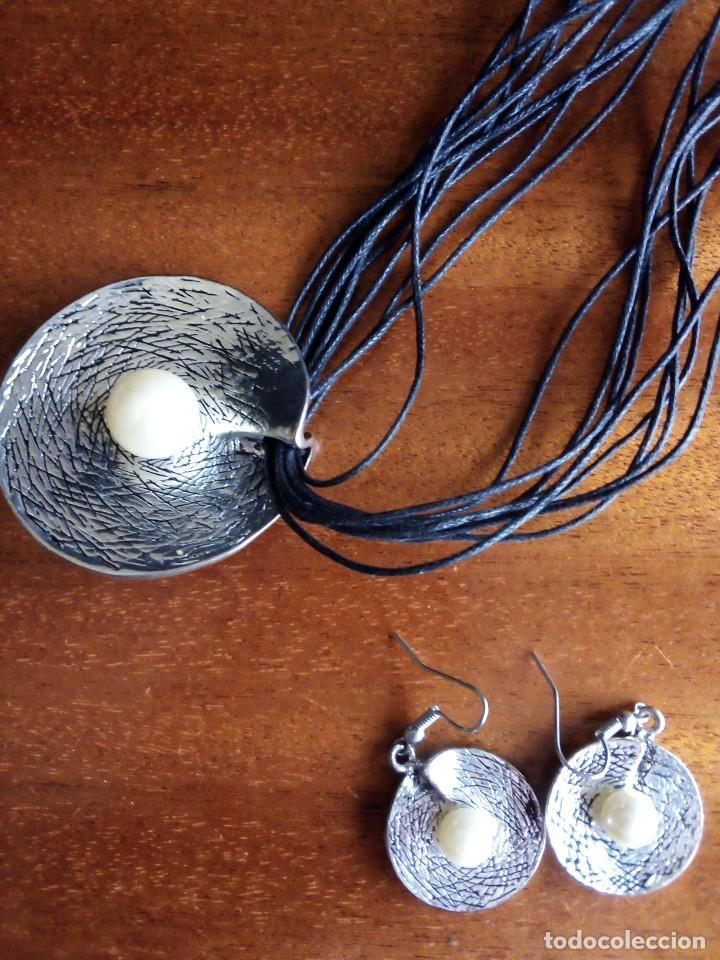 Vintage: Collar y pendientes a juego plateado y perlas o similar - Foto 2 - 255543270