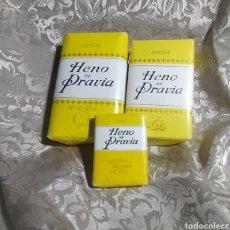 Vintage: HENO DE PRAVIA JABÓN ANTIGUO NUEVO 3 PASTILLAS SIN USAR. Lote 255664890