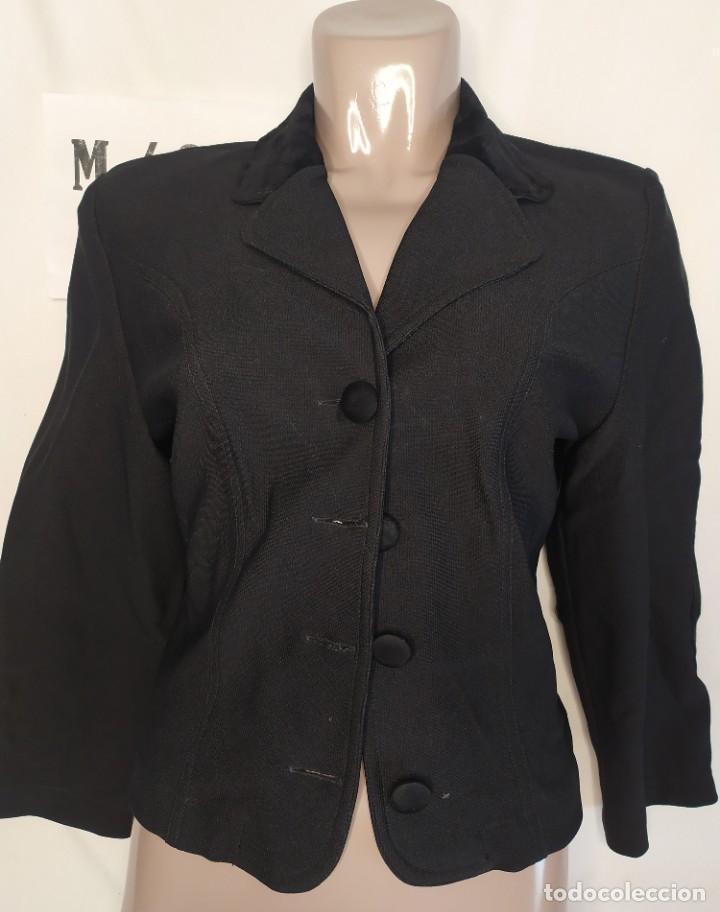 BLAZER MANGA LARGA NEGRO CODERAS TALLA M (Vintage - Moda - Mujer)