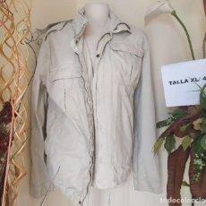 Vintage: CHAQUETA MANGA LARGA LIGERA BEIGE CAPUCHA SFERA TALLA XL. Lote 263214685