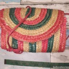 Vintage: BOLSOS DE HOMBRO MIMBRE COLOR. Lote 263218055