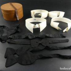 Vintage: JUEGO DE CORBATAS DE LAZO CON CUELLOS PARA TRAJE O FRAC EN CAJA DE CUERO. Lote 265409609