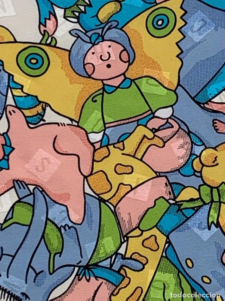 Vintage: PAÑUELO MOSCHINO MOTIVOS INFANTILES JUGUETES PELUCHES SEDA DECORACIONES LETRAS ANIMALES 86X88CMS - Foto 11 - 265796899