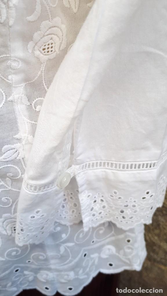 Vintage: BLUSA BLANCA DE ALGODÓN BORDADO - Foto 4 - 268618749