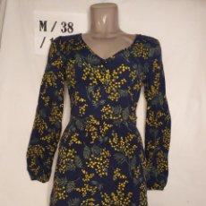 Vintage: VESTIDO MANGA LARGA AZUL MARINO AMARILLO SPRINGFIELD TALLA M. Lote 268906569