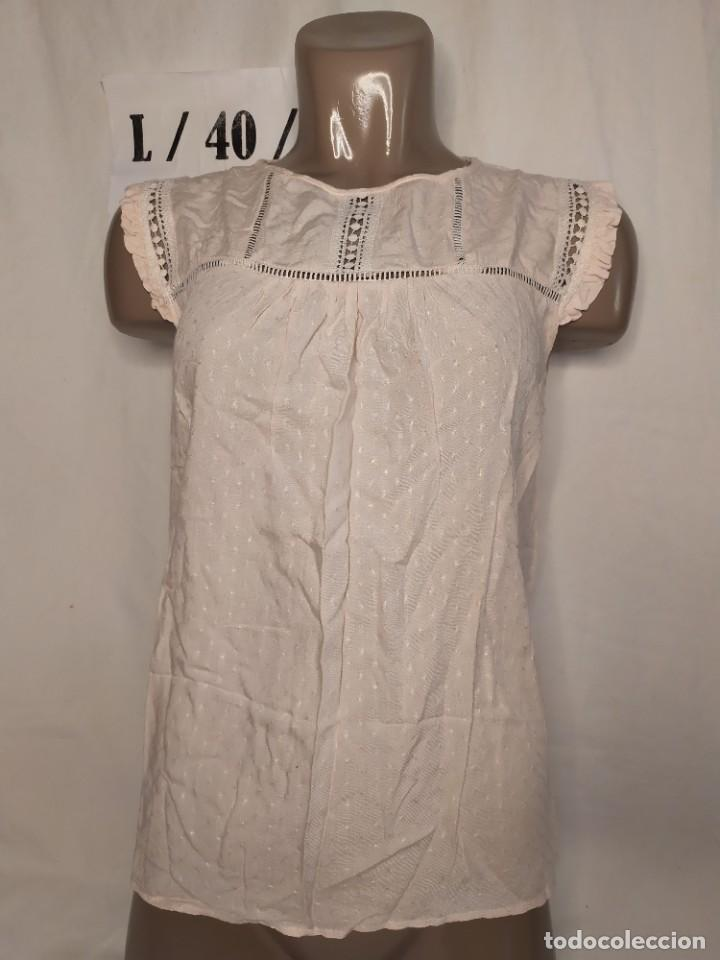 BLUSA PUNTOS ROSA CLARO TALLA L (Vintage - Moda - Mujer)
