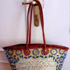 Vintage: CAPAZO VINTAGE AFRICANO BORDADO A MANO CON ASAS DE CUERO. Lote 272681483