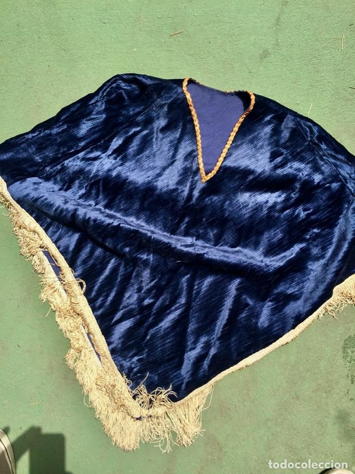 ANTIGUO PONCHO INFANTIL, TERCIOPELO AZUL - VINTAGE (Vintage - Moda - Complementos)