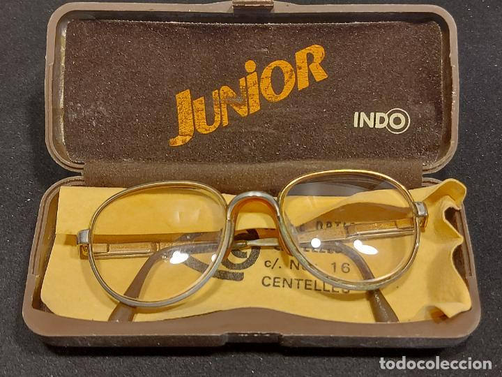 ANTIGUAS GAFAS INDO MODELO JUNIOR EN SU FUNDA ORIGINAL / GRADUADAS. (Vintage - Moda - Complementos)