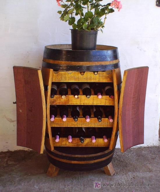 Botellero barrica de vino mueble en madera rob comprar muebles vintage en todocoleccion - Botelleros de madera para vino ...