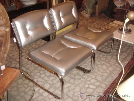 Pareja de sillas vintage tapizadas en color pl comprar - Sillas tapizadas vintage ...