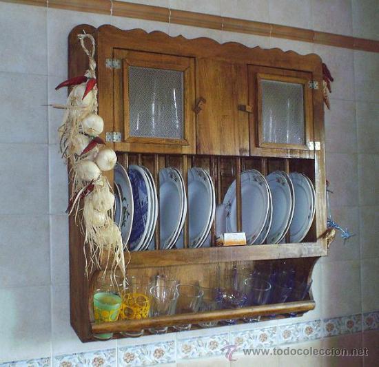 PLATERO ARTESANAL EN MADERA MACIZA, MUEBLE ,,, MUE365 (Vintage - Muebles)
