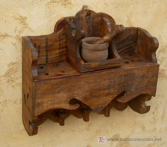 Mueble madera para el almirez rustico mue3 comprar for Muebles rusticos de madera