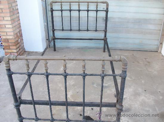 Antigua cama en hierro y bronce a os 50 180x1 vendido - Camas antiguas de hierro ...