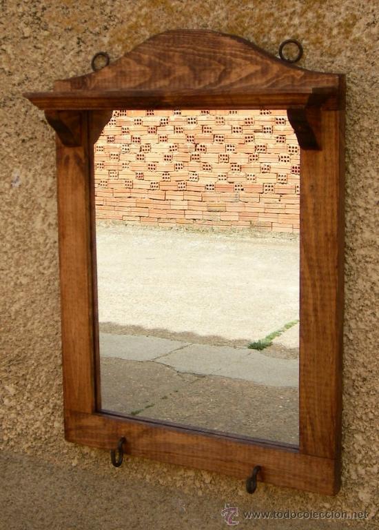 Marco de espejo de madera con repisa rustico comprar for Espejos de pared con marco de madera
