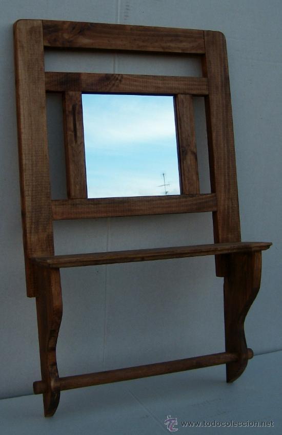 Toallero con espejo y balda mueble rustico comprar for Balda muebles